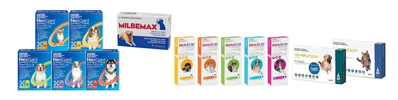 Flea prevention, Milbemax, Nexgard Spectra, Bravecto, Revolution Plus